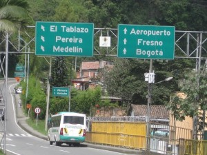 Highway Sign Near Manizales Colombia