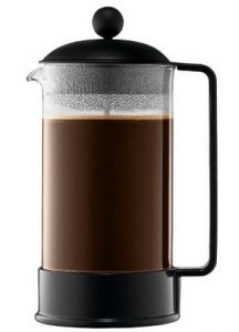 Coffee making with a French press coffee maker results in more oils and solids for a richer tasting coffee.